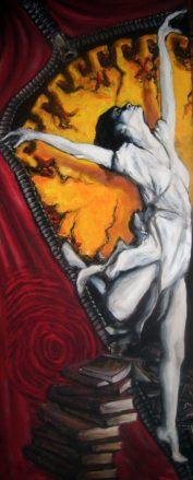 """Isadora Duncan"" akryl/olej na plycie mdf, 110x45"