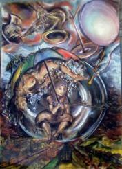 """""""Między niebem a ziemią"""" suche pastele na kartonie, 61x85 (sprzedane)"""